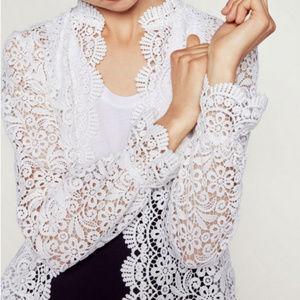 Zara Guipure White Lace Jacket Size Large